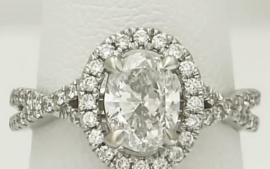LADIES NEW 14k WHITE GOLD OVAL SOLITAIRE HALO 1 1/2ct