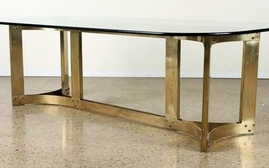 LARGE BRONZE GLASS DINING TABLE C.1970