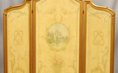 LOUIS XVI STYLE 3 PANEL FOLDING SCREEN