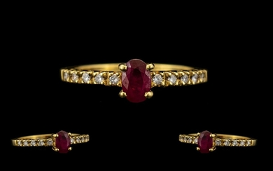 Ladies Attractive Contemporary Design - 18ct Gold Ruby and D...