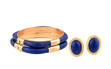 Lapis Lazuli, 14k Yellow Gold Jewelry Suite.