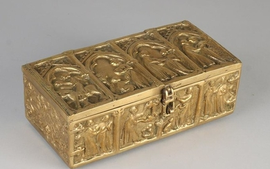 Large Neo Gothic brass lid box with religious imagery.
