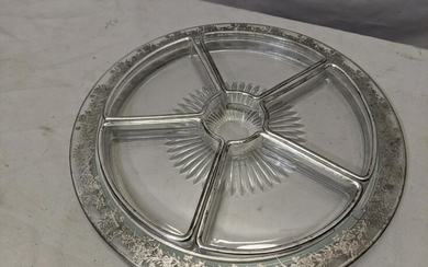 Large Round Silver Overlay on Glass Divided Serving