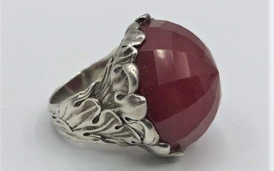 Large Sterling and Faceted Ruby Ring Size 10