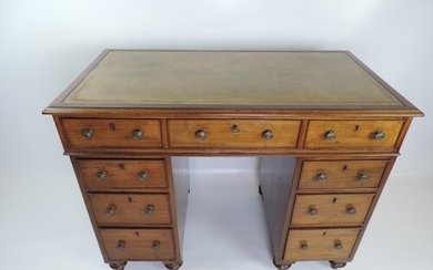Late Georgian Mahogany Twin Pedestal Seven Drawer Desk with...