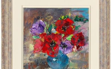 Laura Wallace, 2018, Anemones in Blue Vase