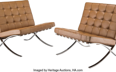 Ludwig Mies van der Rohe (1886-1969), Pair of Barcelona Chairs (designed 1929)