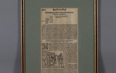 """MÜNSTER, SEBASTIAN. Woodcut, book page from """"Cosmographey, or description of all countries and dominions""""."""