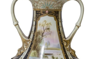 Marked Large Scenic Nippon Vase Jewels and Beading