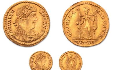 Medallion of 4.5 solid. Trier (376-378). Gold. 20,40 g. 39 mm.