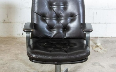 Mid Century Modern Brown Leather Executive Chair