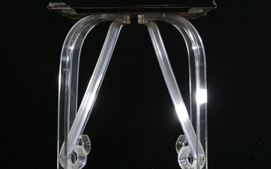 Mid-Century Modern Lucite Base End Stand & Smoke Glass