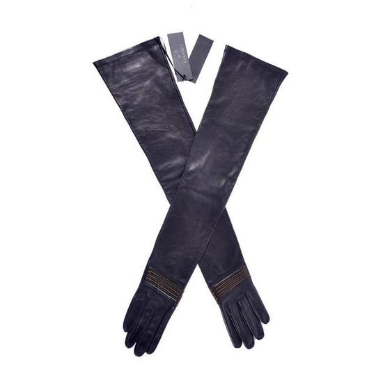 NEW VERSACE LONG LEATHER GLOVES sz. M
