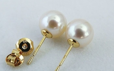 NO RESERVE PRICE - Akoya pearls, Premium 9 mm - Earrings, 18 kt. Yellow Gold