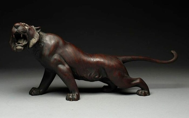Okimono - Bronze - Large and very fine tiger, marked - Japan - Early 20th century