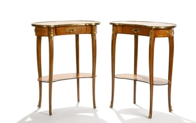PAIR OF FRENCH STYLE SIDE TABLES