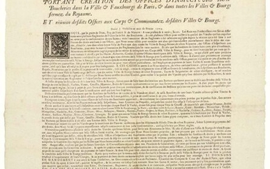 """PARIS. BORDEAUX (33). 1704. BOUCHERIE - """"Edict of the KING creating the Offices of Inspectors at the BOUCHERIES in the City and Suburbs of PARIS and in all the closed Cities and Towns of the Kingdom and meetings of the said Offices at the Bodies and..."""