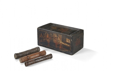 Painted wood box with cover with three bamboo document holders Southern China, early 20th Century