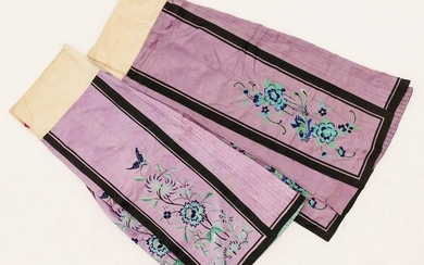 Pair Chinese 19th Cent. Purple Silk Embroidered Skirts