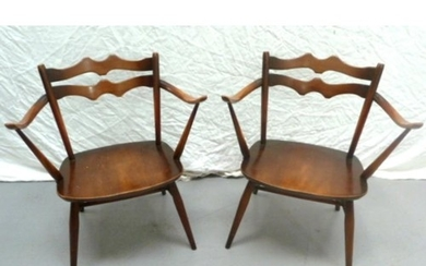 Pair Ercol Carver Chairs with wavy bar backs Model 493 (2) (...