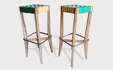 Pair Of Cerused Oak Bar Stools, Style Of Royere