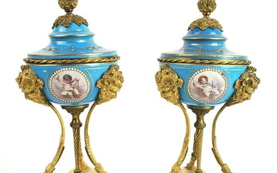 Pair of 19th C. Sevres Jewelled Porcelain & Bronze