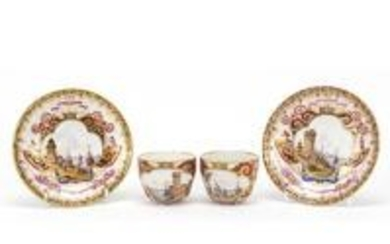 Pair of 19th century Meissen cabinet cups and saucers