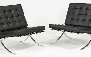 Pair of Barcelona Style Chairs in Black Leather