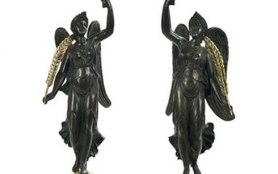 Pair of French Bronze Figural Torcheres
