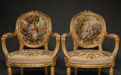 Pair of Louis XVI style French armchairs in carved and gilded wood. French work, last third of the 19th century