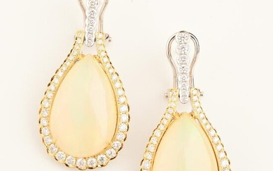 Pair of Opal, Diamond, 14k Gold Earrings.