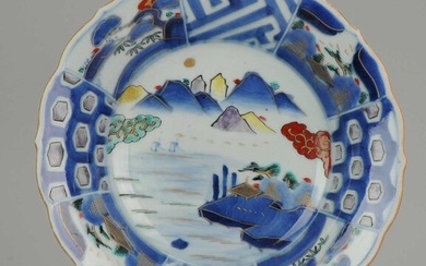 Plate - Blue and white - Porcelain - Colorfull Landscape Dish with mountains Boats Village - Japan - Late Edo period