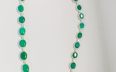 Platinum and Yellow Gold Emerald and Diamond necklace...