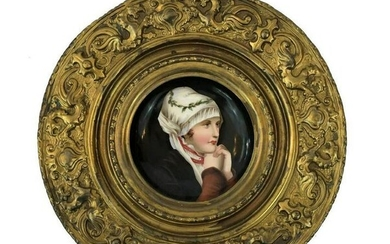 Porcelain Plate With Brass Frame