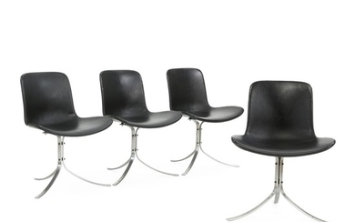 """Poul Kjærholm: """"PK-9"""". A set of four chairs with frame of steel. Seat and back upholstered with black leather. Manufactured by Fritz Hansen. (4)"""