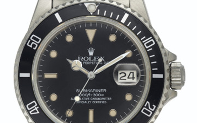 Rolex. A Fine Stainless Steel Automatic Wristwatch with Center Seconds, Date, and Bracelet, SIGNED ROLEX, OYSTER PERPETUAL DATE, SUBMARINER, 1000FT = 300M, SUPERLATIVE CHRONOMETER, OFFICIALLY CERTIFIED, REF. 16800, CASE NO. 8'495'269, CIRCA 1985