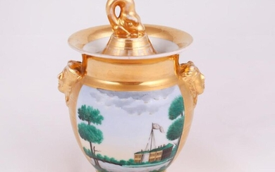 [Russian Empire]. Sugar bowl with landscape painting. [Imperial Porcelain Factory]. Early XIX century.