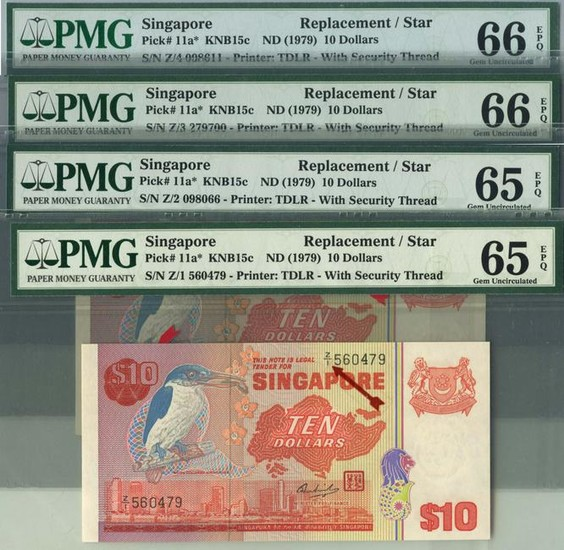 SINGAPORE Bird Series $10 Full set of Replacement Note