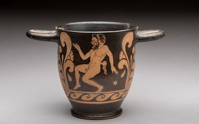 SKYPHOS with RED FIGURES in DANCING SATYRE with nude woman on one side. On the other, a dancing satyr. Paestum? IVth century B.C. Height. 14.2 Diam. 12.8 cm. Provenance : collection of an honorary consul of France, Touraine. Red-figure skyphos with...