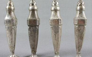 Set Of 4 Silver Salt Shakers