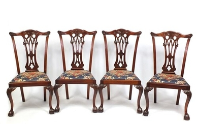 Set of four reproduction Chippendale style dining chairs wit...