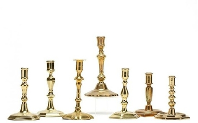 Seven Antique Queen Anne Brass Candlesticks
