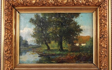 Signed A van de Berg, Figure in a boat at a farm