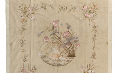 Silk embroidery on a sand-colored cannetillè silk foundation. China, late...