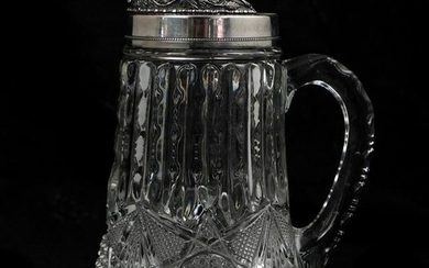 Silver Mounted Crystal Pitcher
