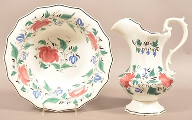 Staffordshire China Pitcher and Bowl Set.