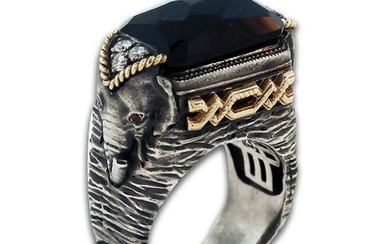 Stambolian Aged Silver & 18K Gold Elephant Ring with