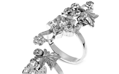 Stambolian Two Piece White Gold and Diamond Flower Ring