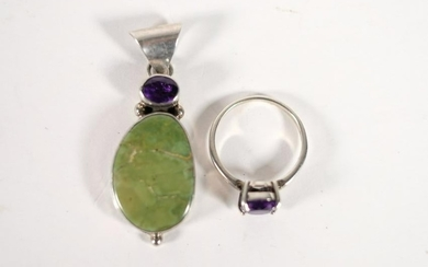 Sterling Silver Amethyst Pendant & Ring