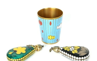TWO EARLY 20TH CENTURY RUSSIAN SILVER AND ENAMEL SCENT BOTTL...